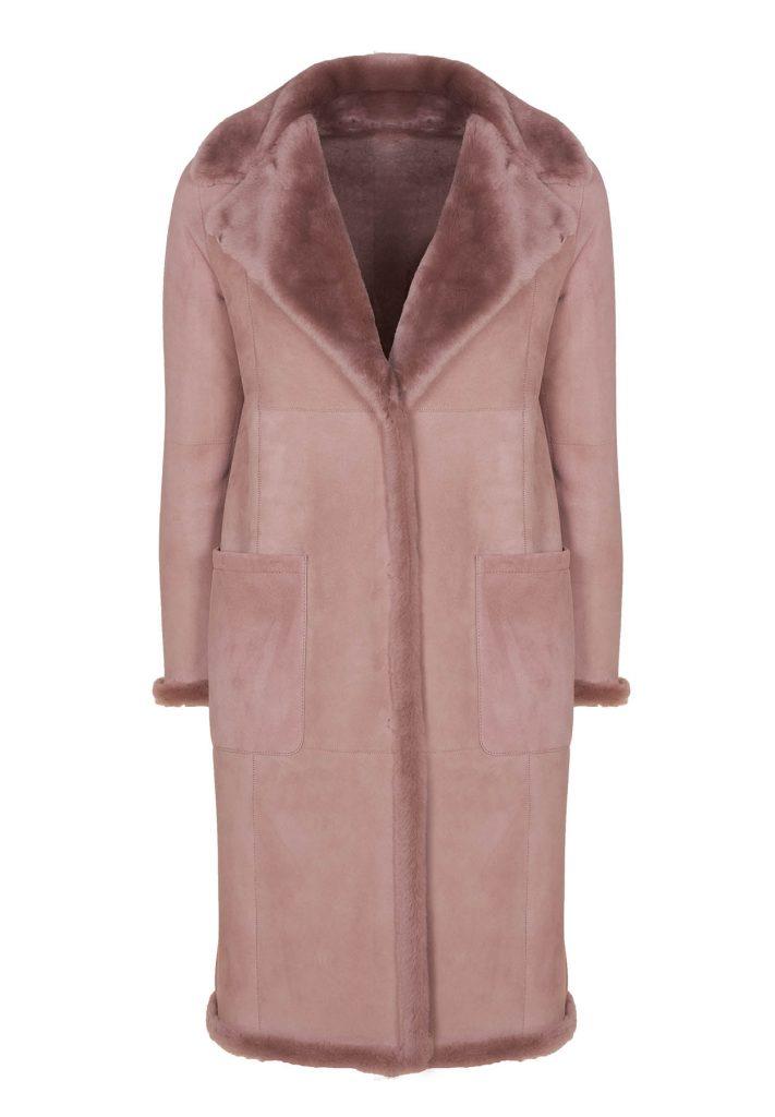 Desert-rosefarbene Mantel aus Shearling