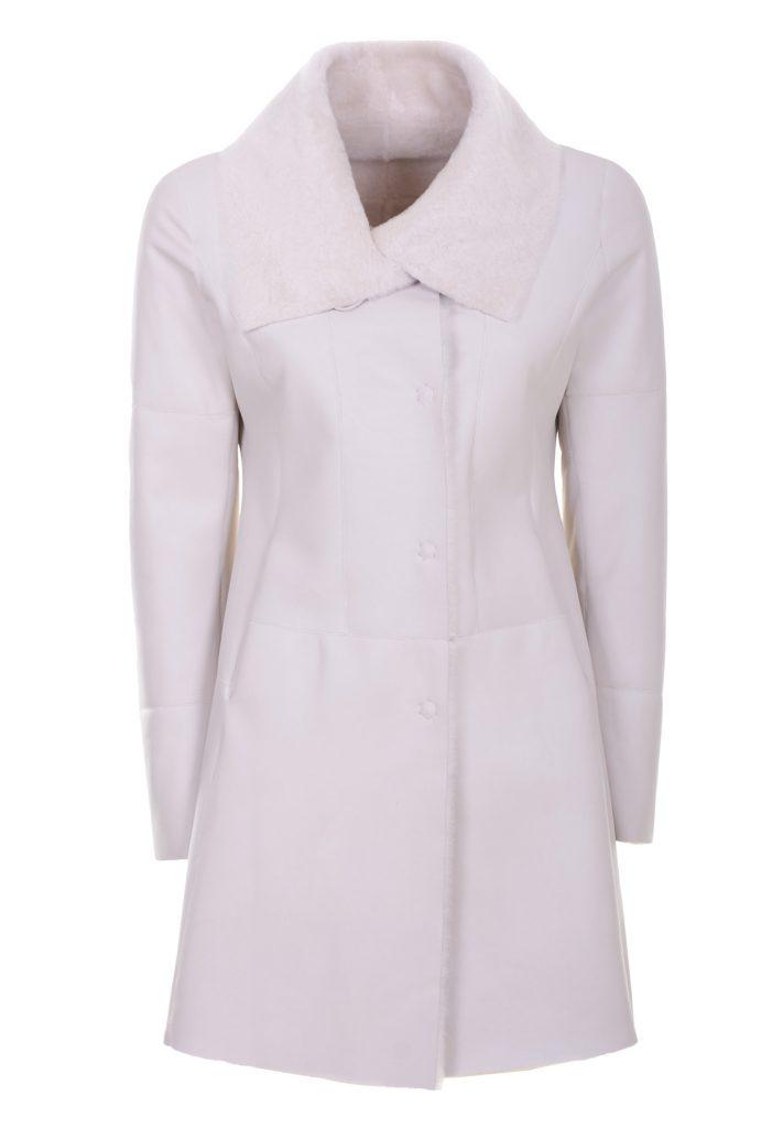 Elfenbeinfarbene Mantel aus Shearling