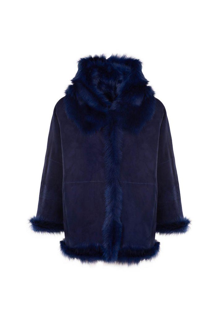Mittelblaue Cape-Jacke aus Shearling