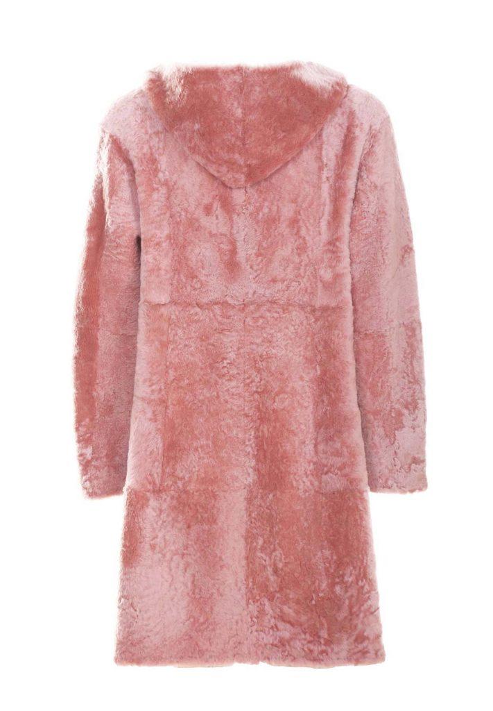 Mantel aus Shearling für Damen in der Puderfarbe