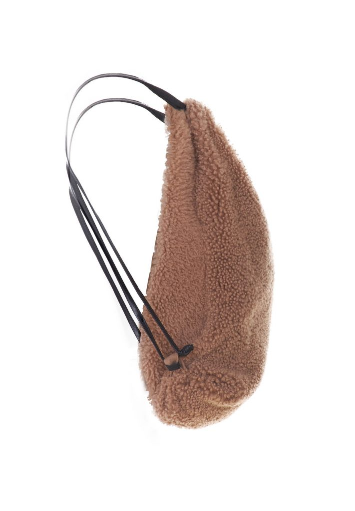 Rucksack aus kamelfarbenem Shearling