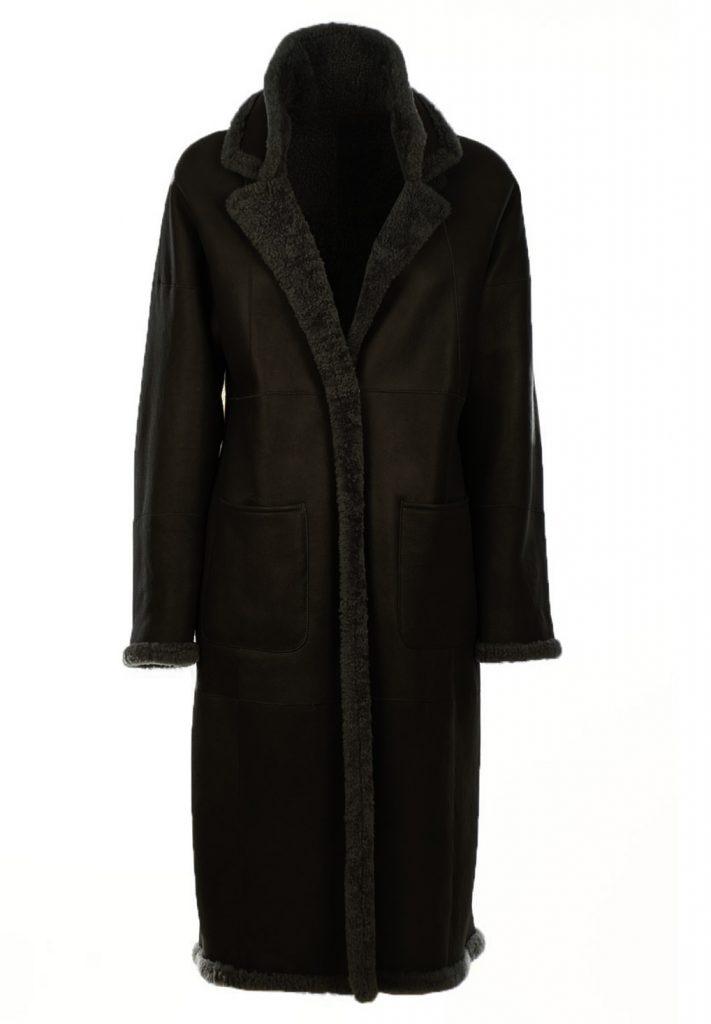 Winterjacke aus schwarzem Shearling, oversized