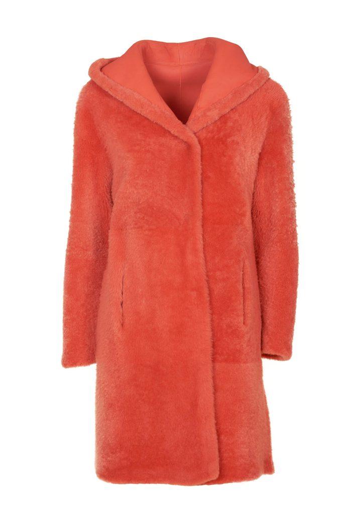 Mantel aus Shearling für Damen in der Tonfarben