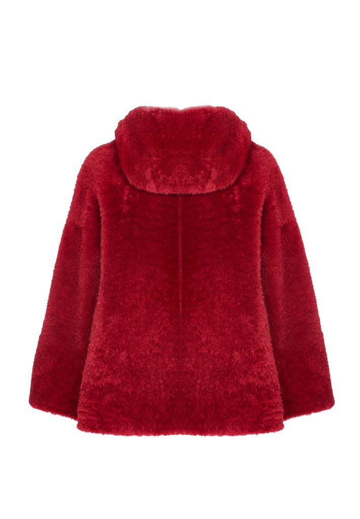 Pelz-Jacke aus Shearling für Damen in der Rotfarben
