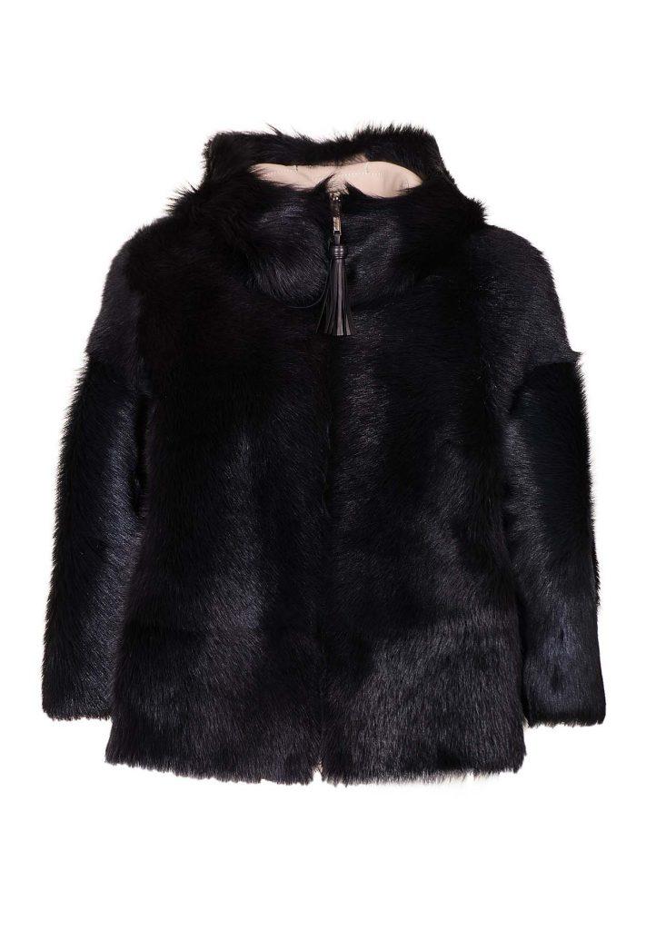 Pelz-Jacke aus Shearling für Damen in den Schwarz und Weiss Farben