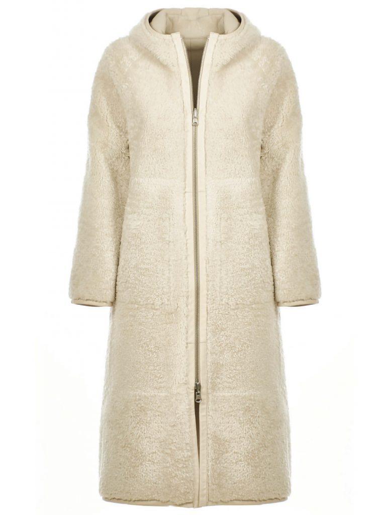 Mantel aus Shearling für Damen in der Farbe Weiss