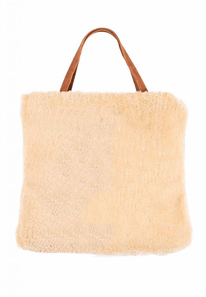 Tasche aus Shearling in Gold und Kamel