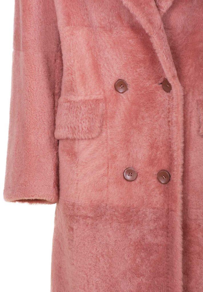 Women's blush-coloured shearling coat