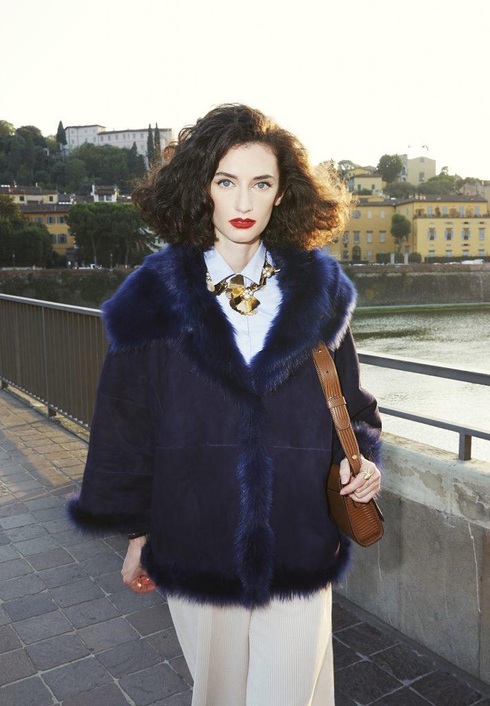 Woman cornflower blue shearling cape-jacket