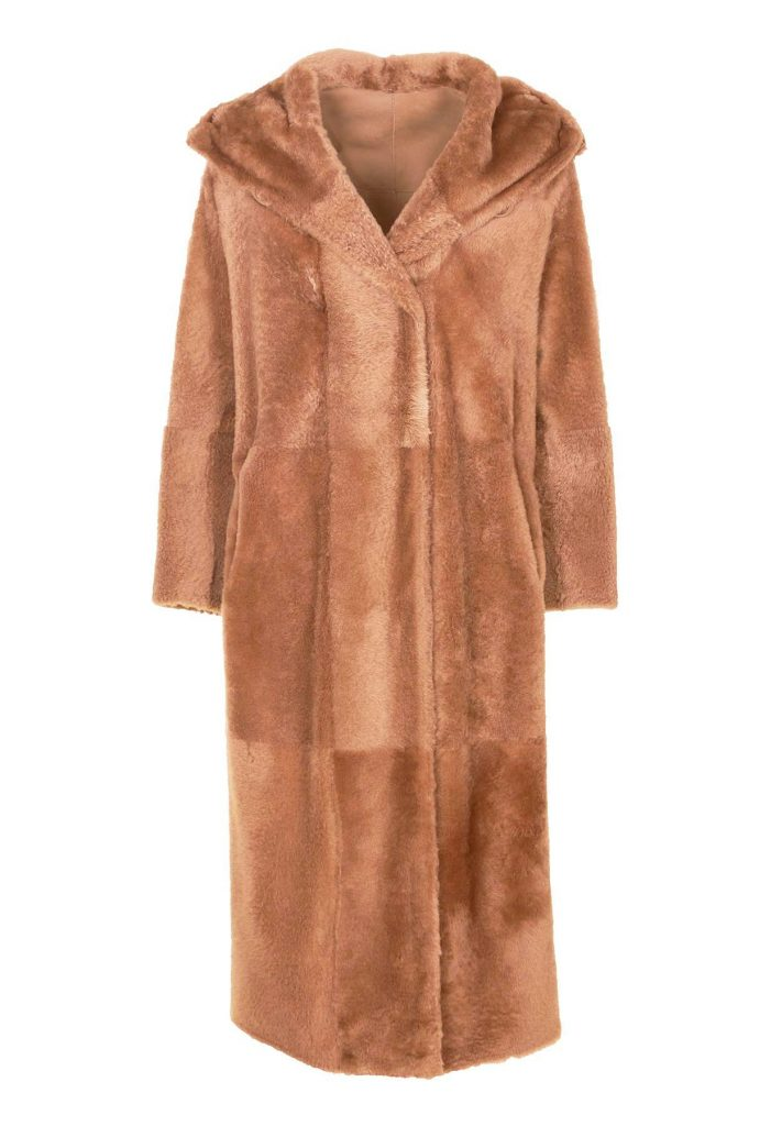 Camel-coloured shearling coat
