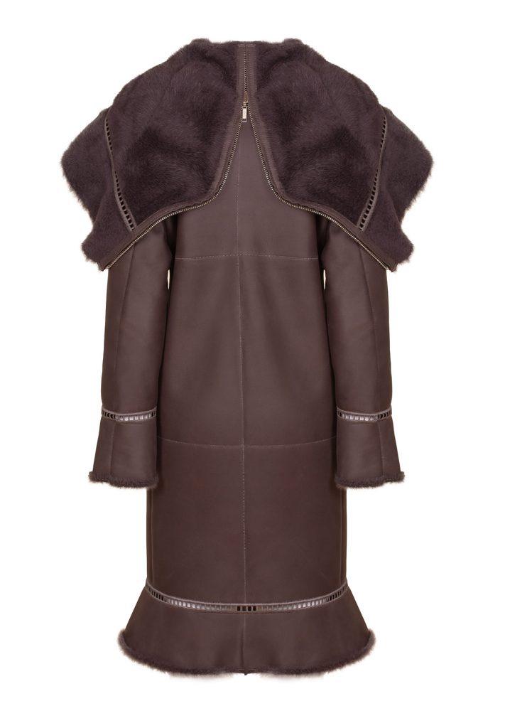 Coffee-coloured shearling pea coat