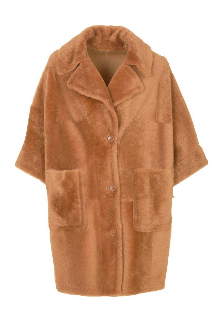 Camel-coloured shearling poncho-shirt