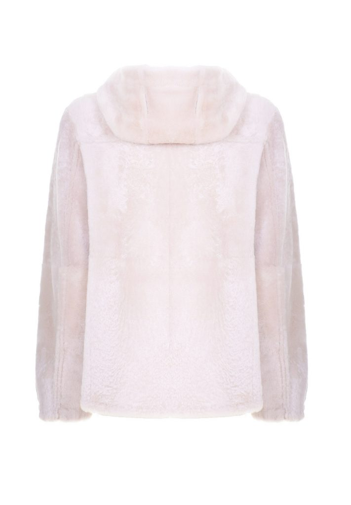 Women's natural white shearling hoody