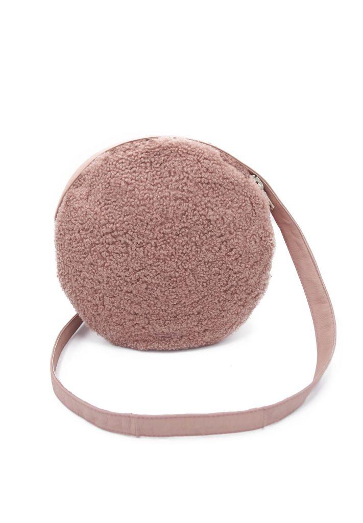Pink shearling bag