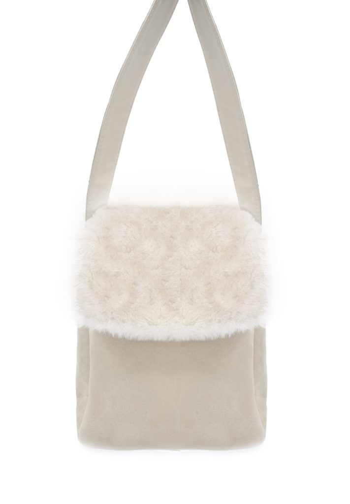 White shearling bag