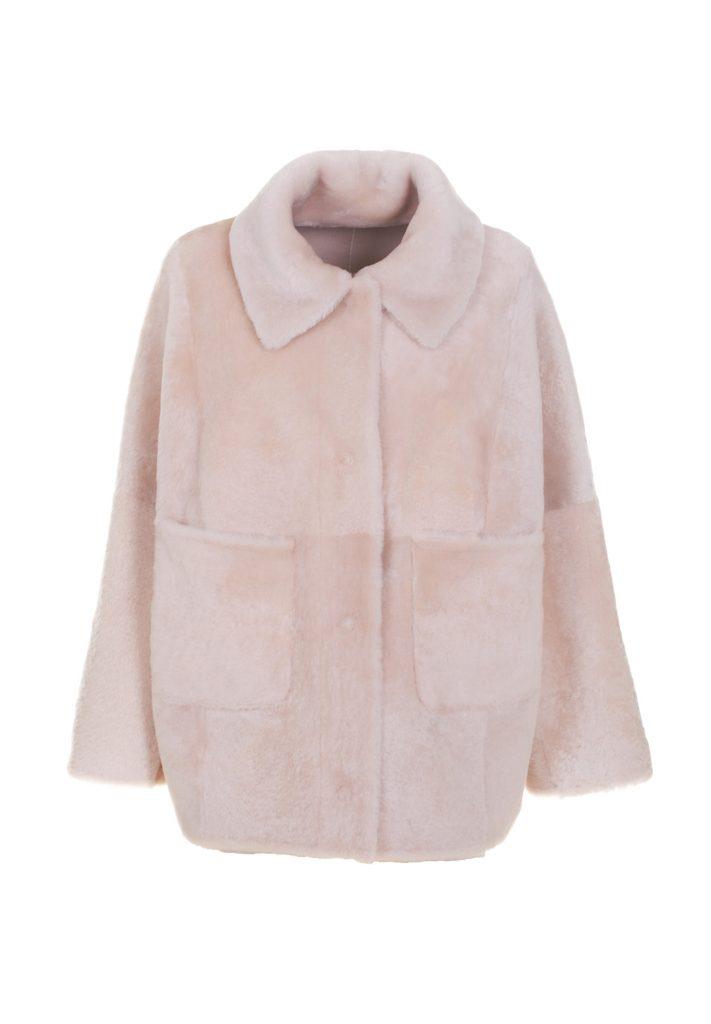 Natural white shearling shirt-jacket with batwing sleeves