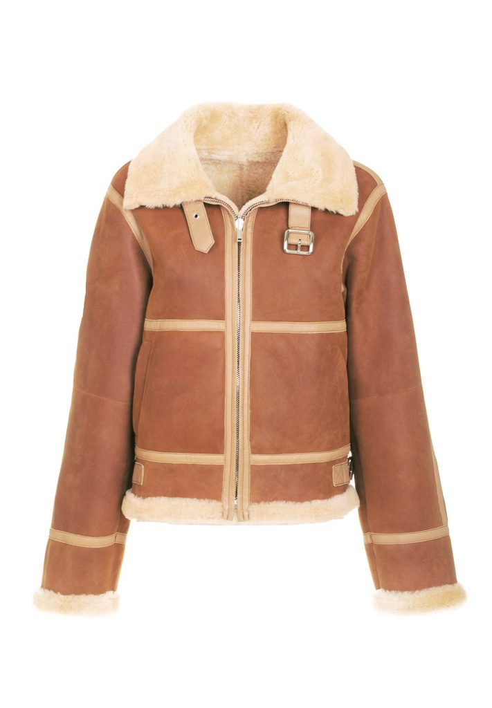 Women's shearling bomber jacket, camel and golden