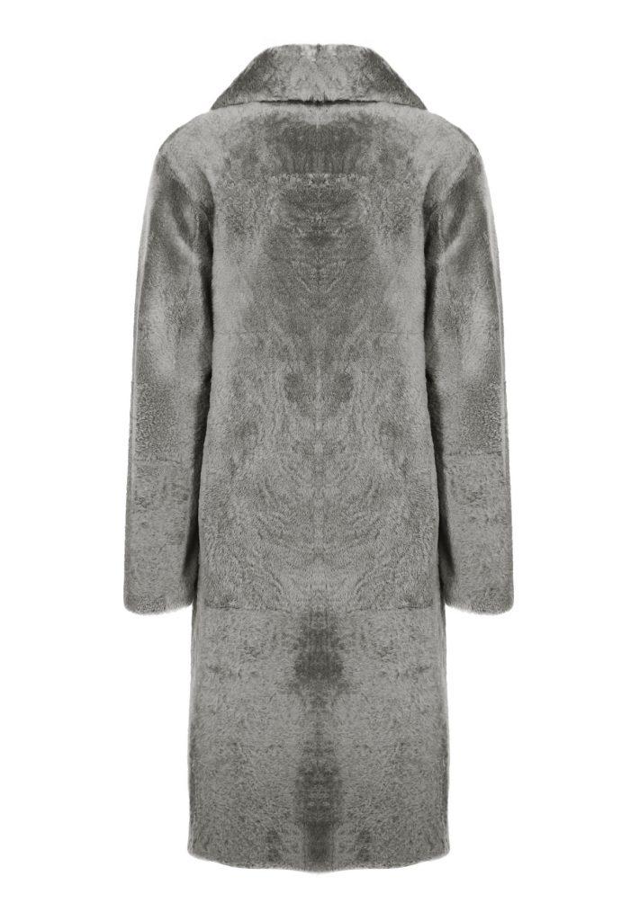 Woman stone grey shearling coat