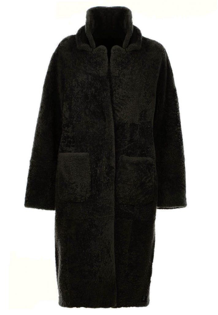 Oversized black shearling jacket