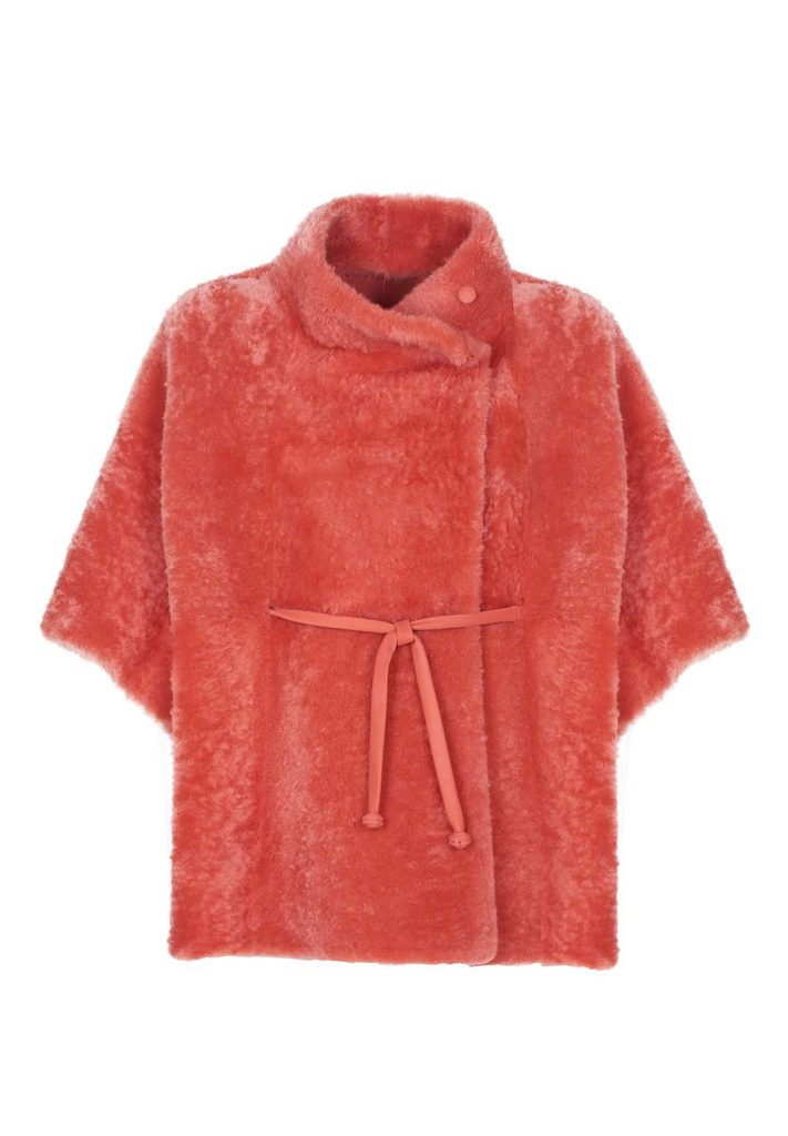 Terracotta-coloured shearling cape