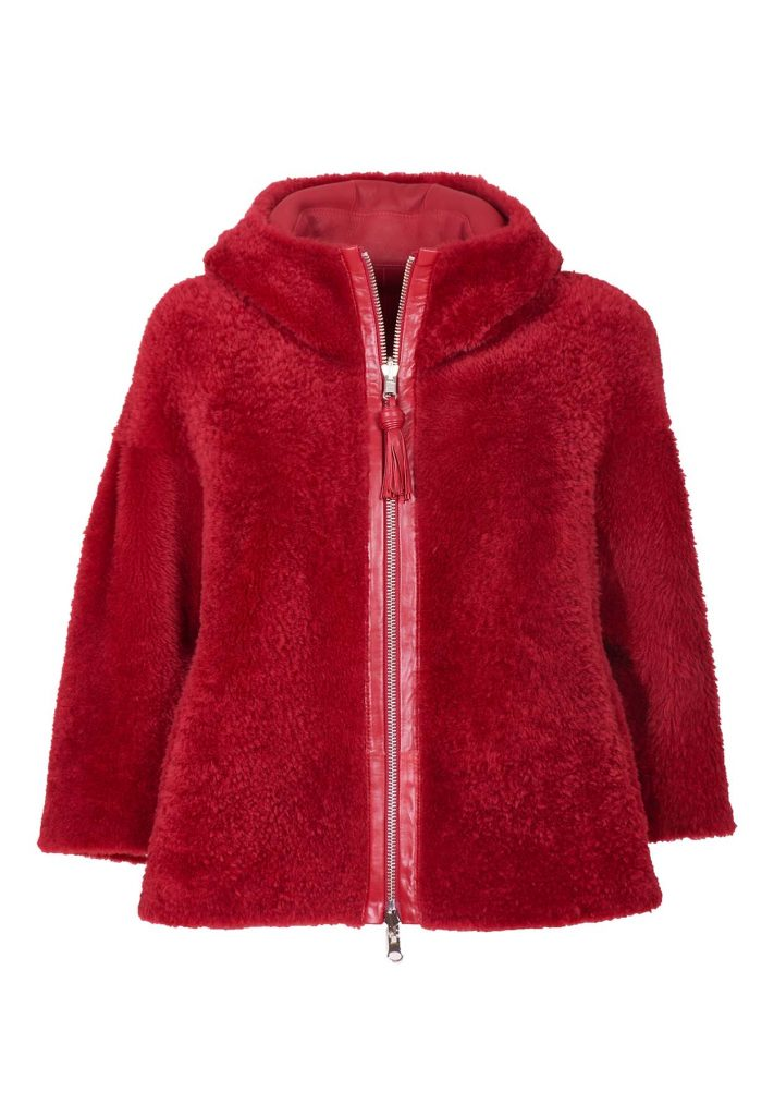 Ruby red shearling fur jacket