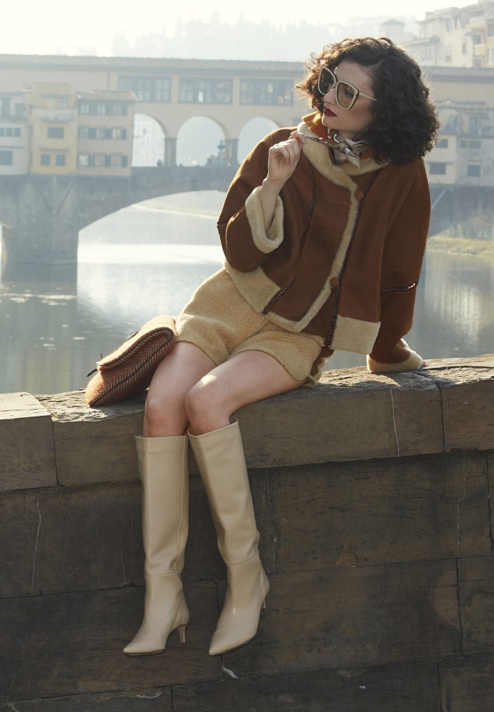 Gold and camel-coloured shearling bomber jacket