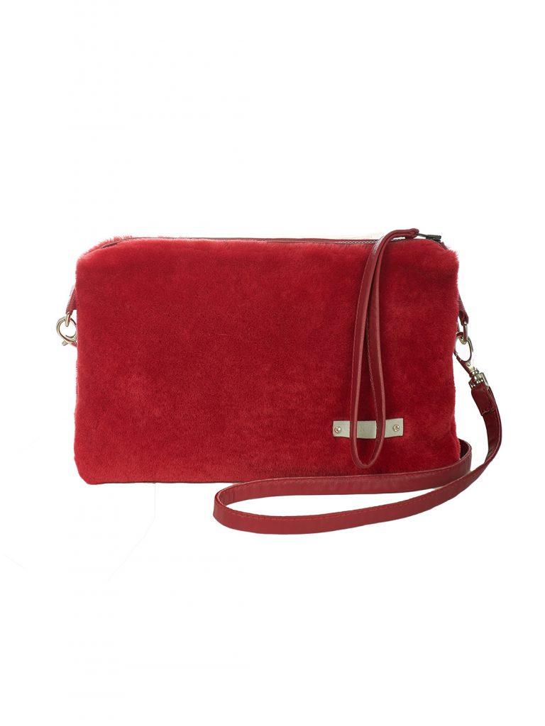 Red shearling crossbody bag