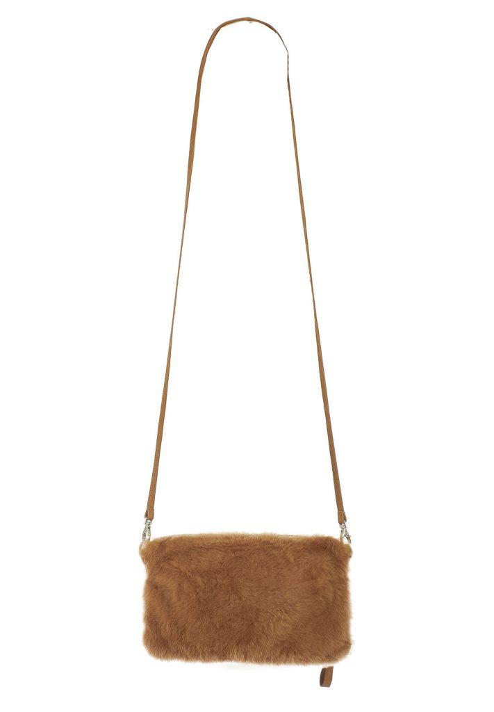 Camel shearling crossbody bag