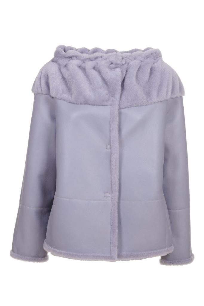 Ice colored shearling jacket, with a particular curled collar
