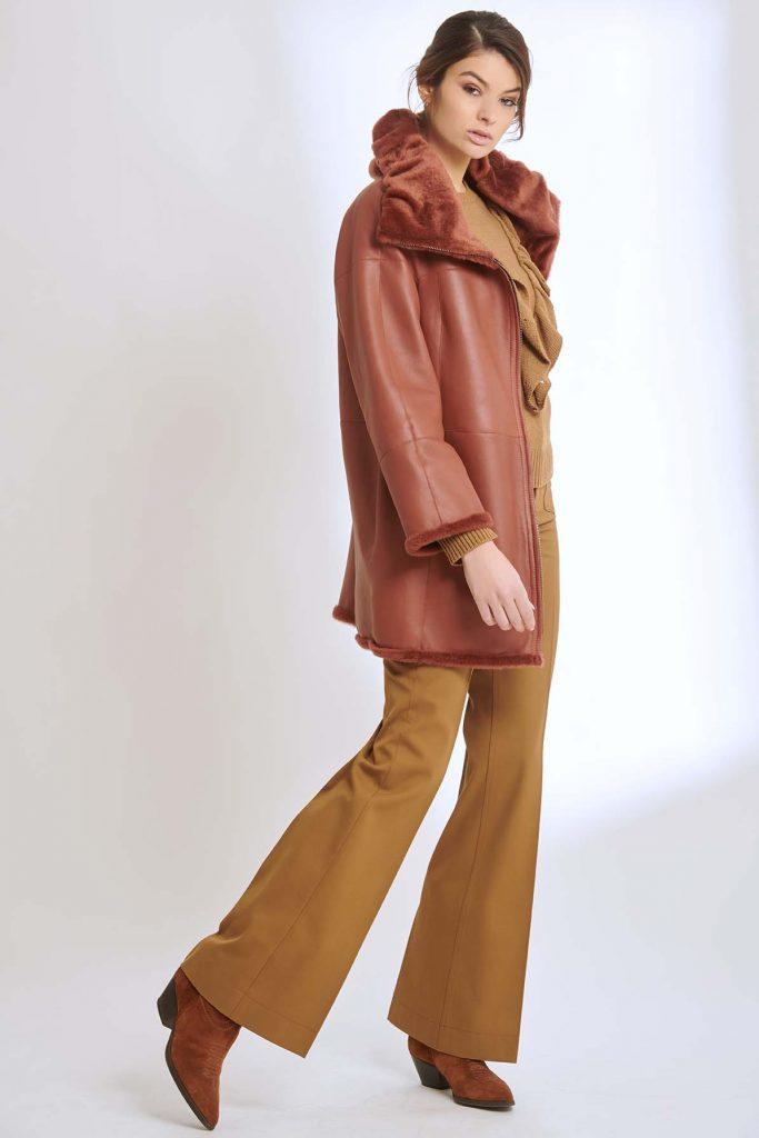 Terracotta colored shearling coat, reversible