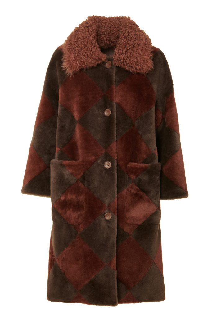 Reversible shearling coat, with diamond-shape two-tone inlays