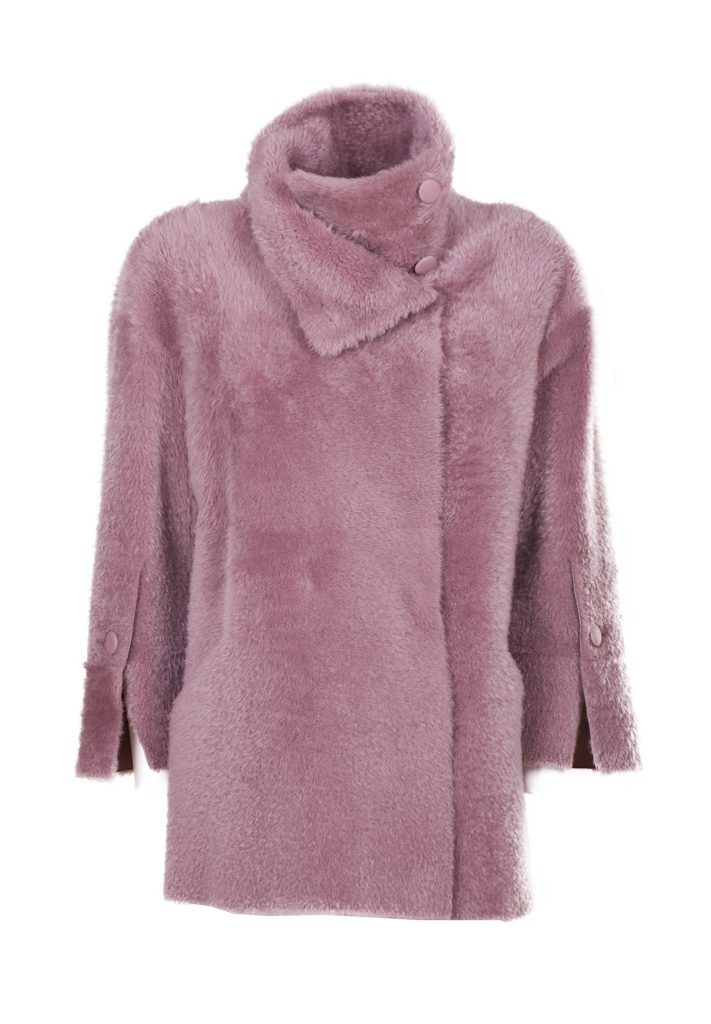 Giacca shearling montone donna rosa antico