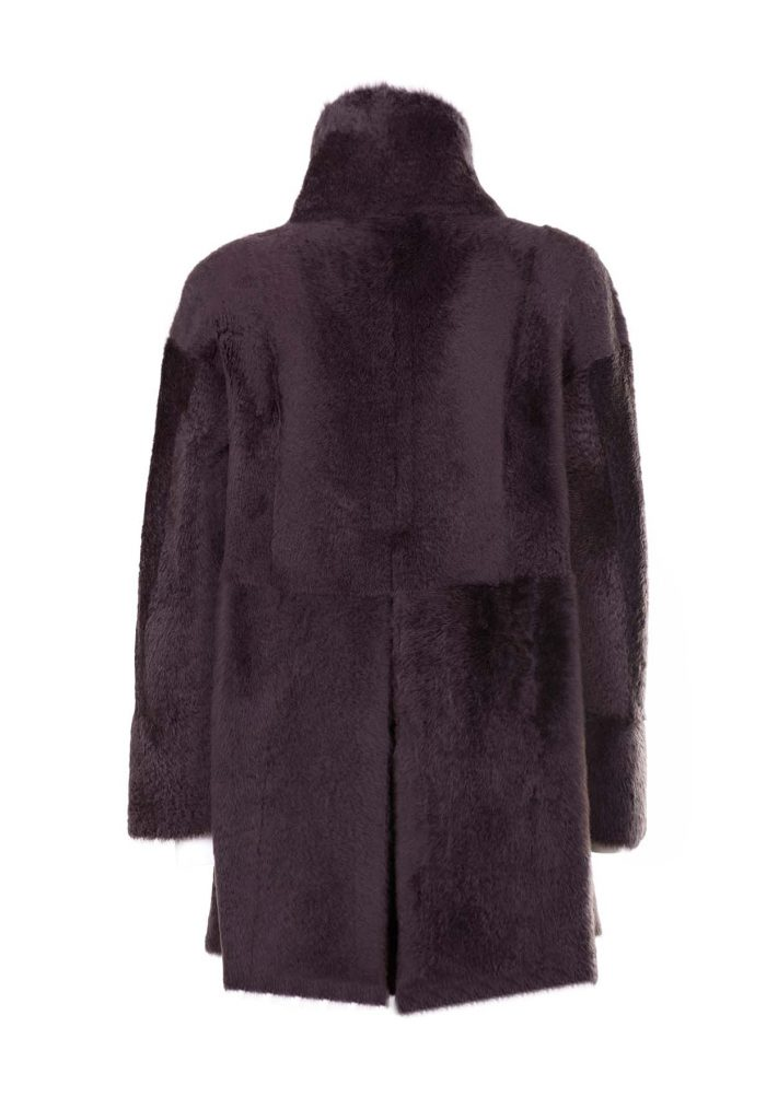 Giacca shearling donna color caffè