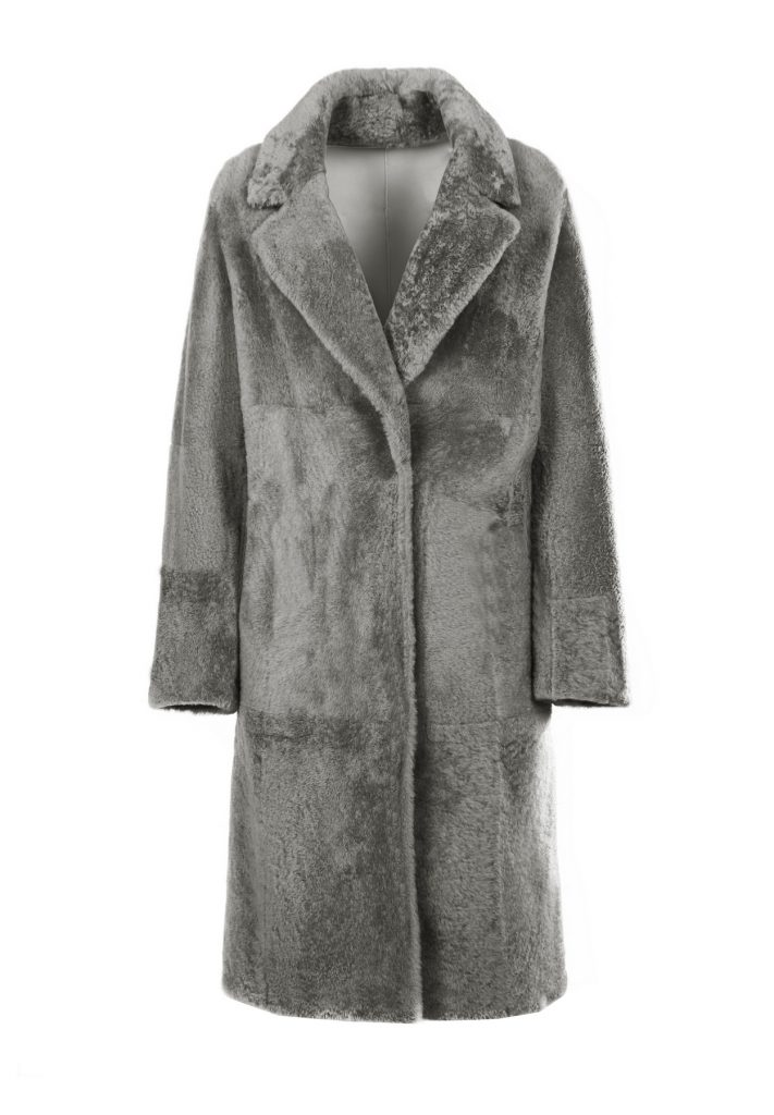 Cappottino shearling donna grigio pietra