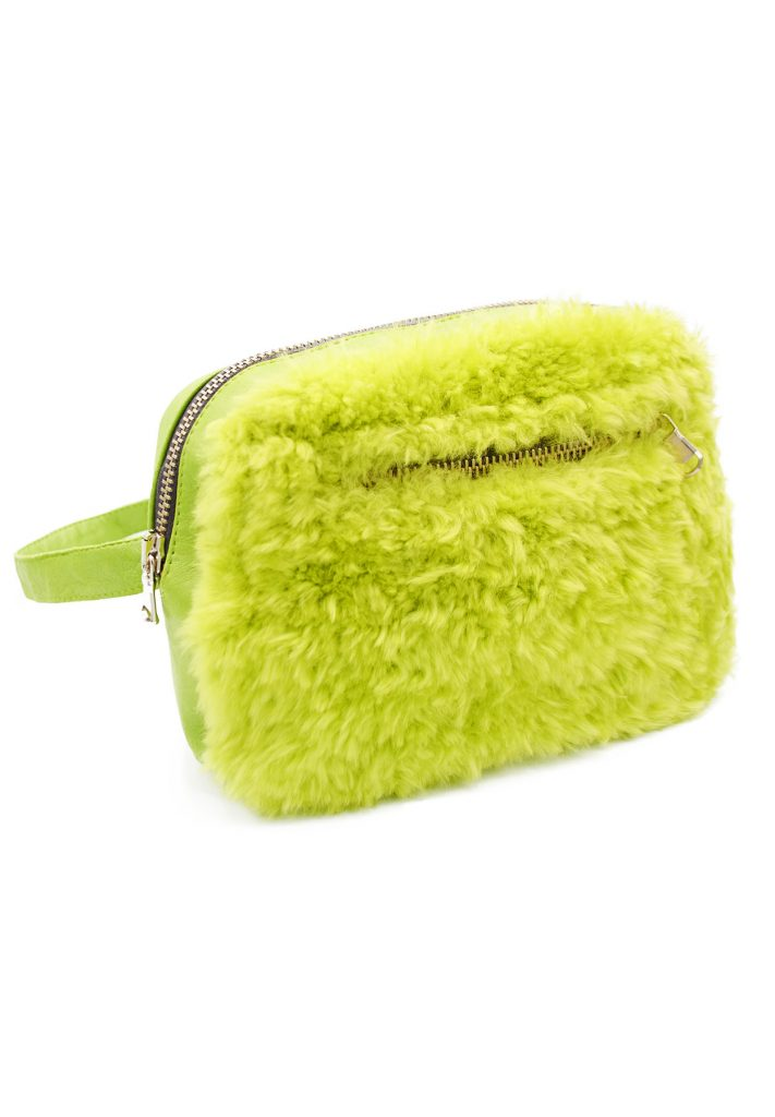 Marsupio shearling donna verde acido