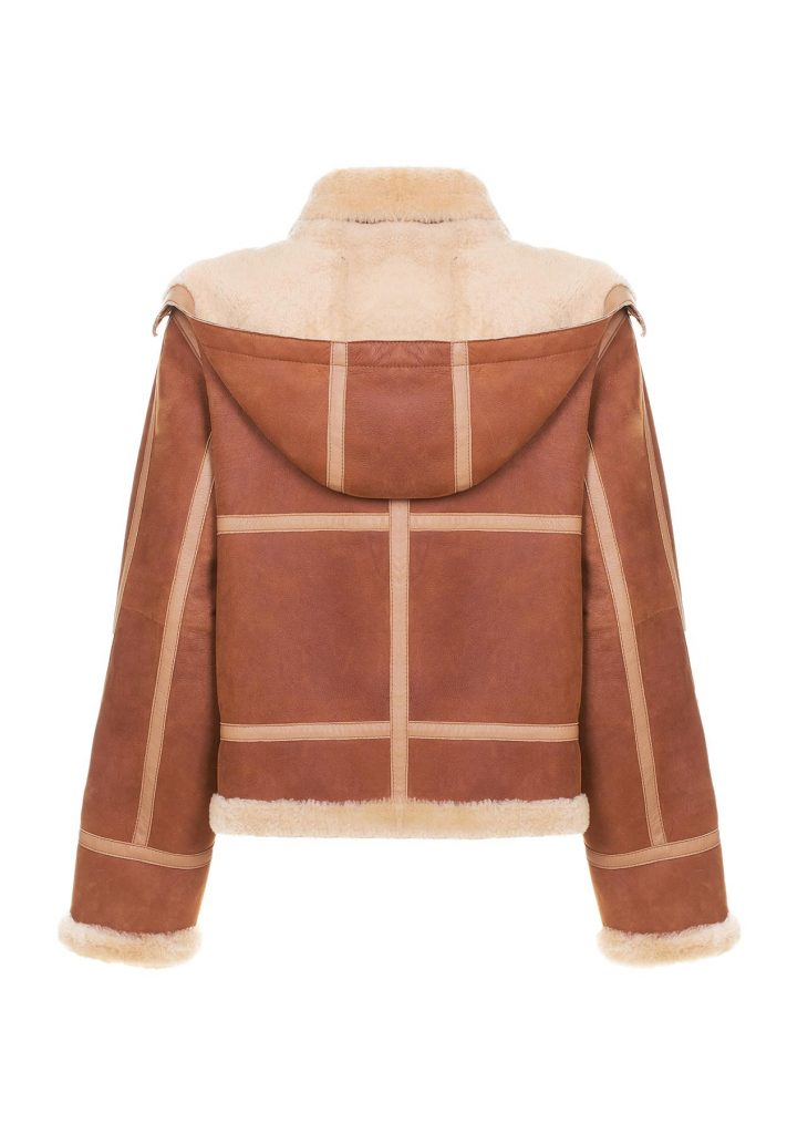 Bomber shearling donna color cammello e gold