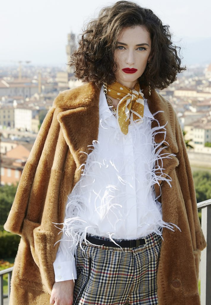 Camicia-poncho shearling donna cammello