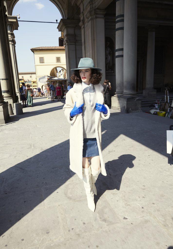 Cappotto shearling montone donna bianco