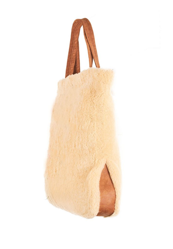 Borsa in shearling gold e cammello