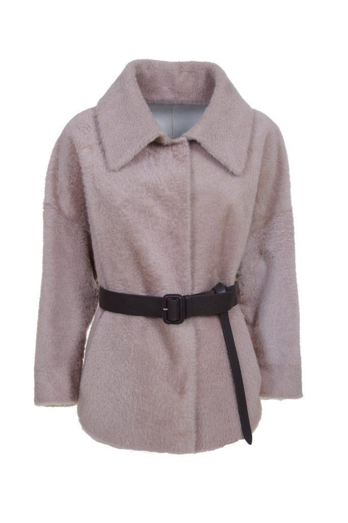 Camicia-giacca in shearling bicolore