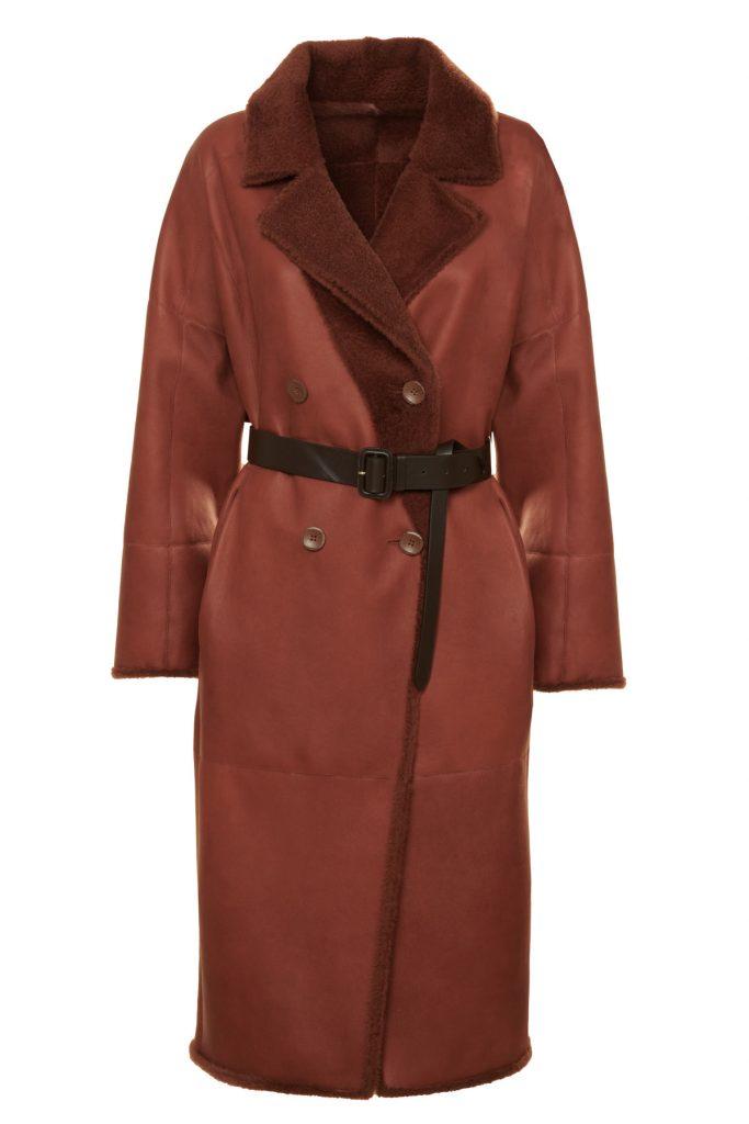 Cappotto in shearling reversibile, color coccio