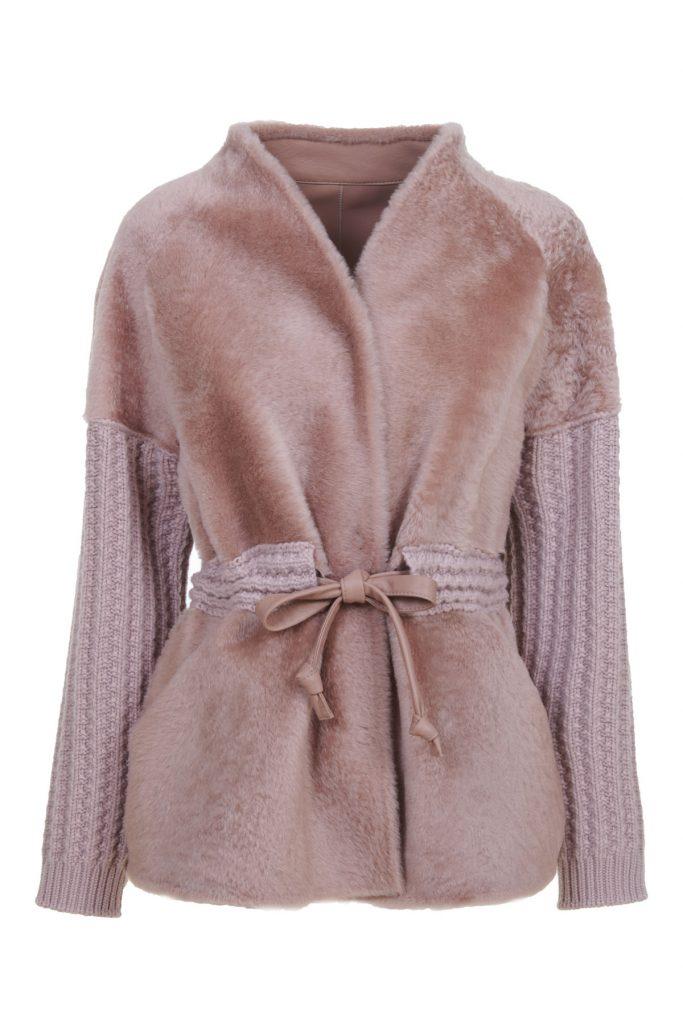 Giacca senza collo, mista in shearling e cashmere